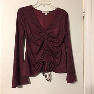 Red Bell Sleeve Top Ruched V Neck M